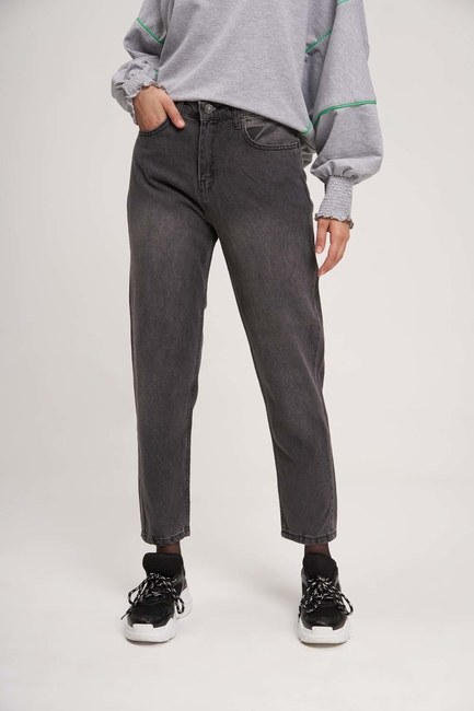 MIZALLE YOUTH - Mom Denim Trousers (Anthracite) (1)