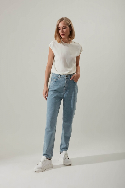 Mom Denim Buz Mavisi Pantolon