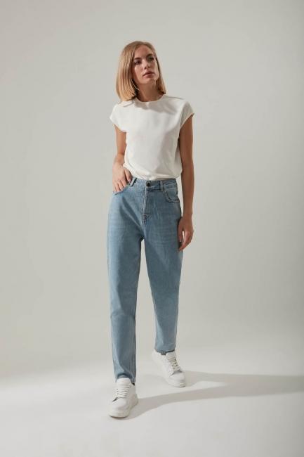 Mom Denim Buz Mavisi Pantolon - Thumbnail