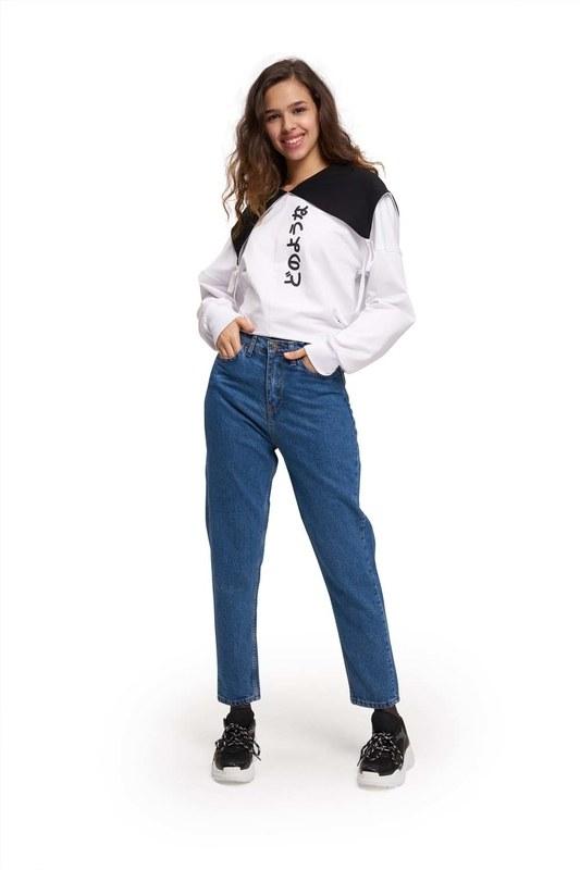 Mom Denim Pantolon (Mavi)