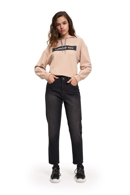 MIZALLE YOUTH Mom Denim Pantolon (Siyah)