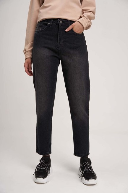 MIZALLE YOUTH - Mom Denim Trousers (Black) (1)