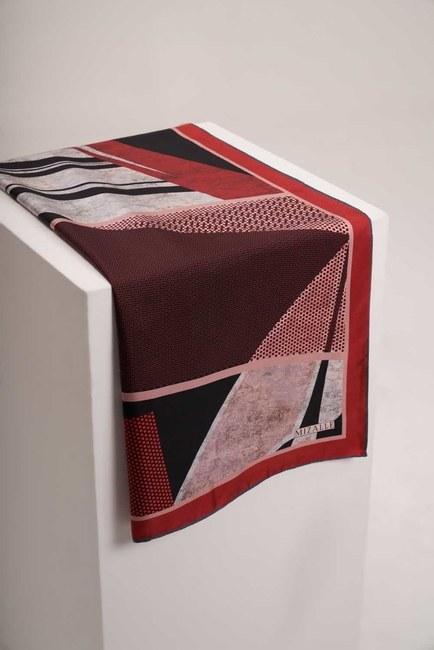 Mizalle - Mozaik Desenli Eşarp (Kırmızı)