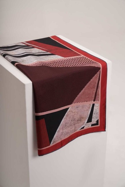 MIZALLE - Mozaik Desenli Eşarp (Kırmızı) (1)