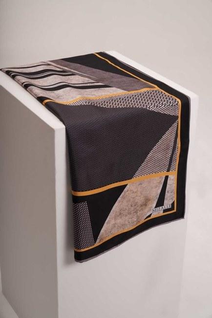 MIZALLE - Mosaic Patterned Scarf (Black) (1)