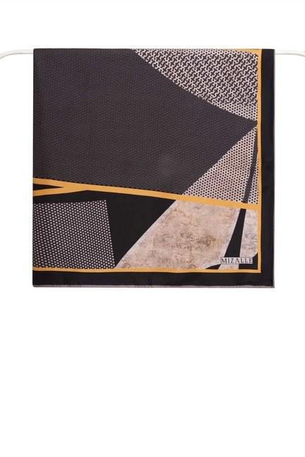 MIZALLE - Mozaik Desenli Eşarp (Siyah) (1)