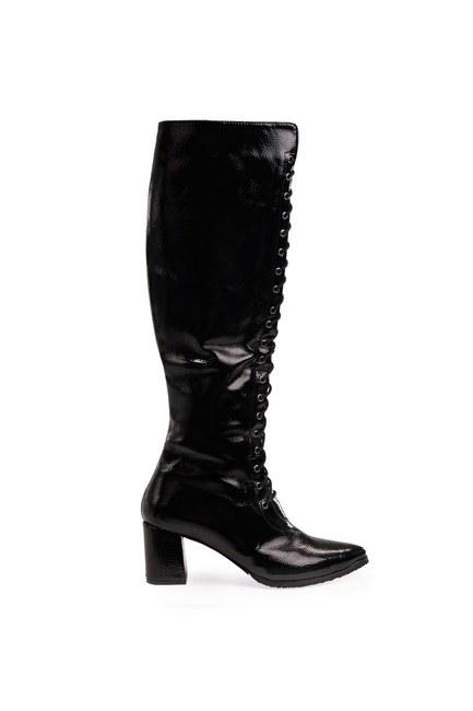 أحذية طويلة متعددة الأشرطة (أسود) - Thumbnail