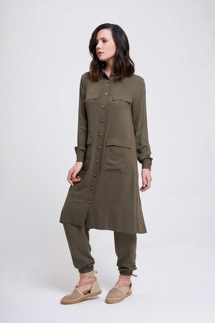 MIZALLE - Multi-Pocket Tunic (Khaki) (1)
