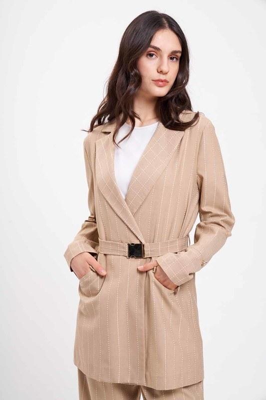 Nakış Çizgili Ceket (Bej)