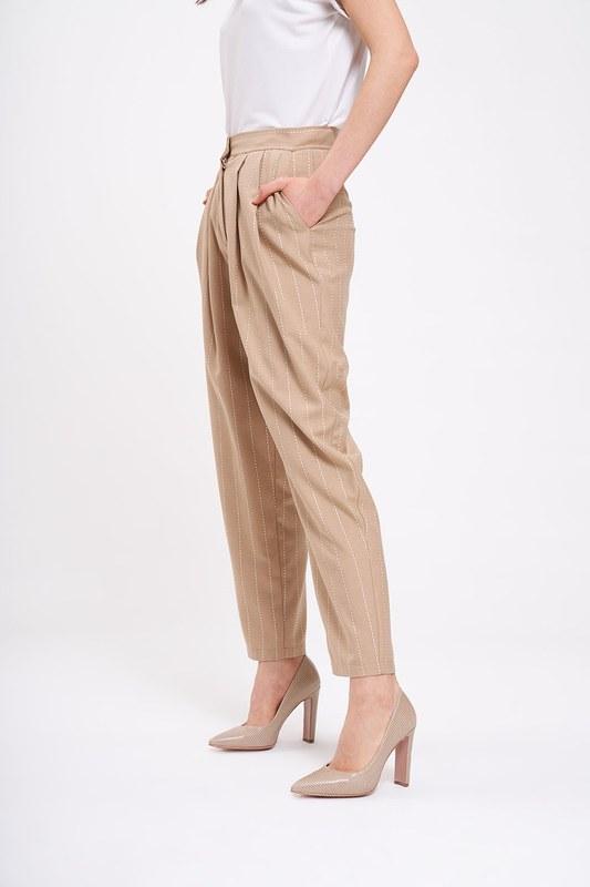 Nakış Çizgili Pantolon (Bej)