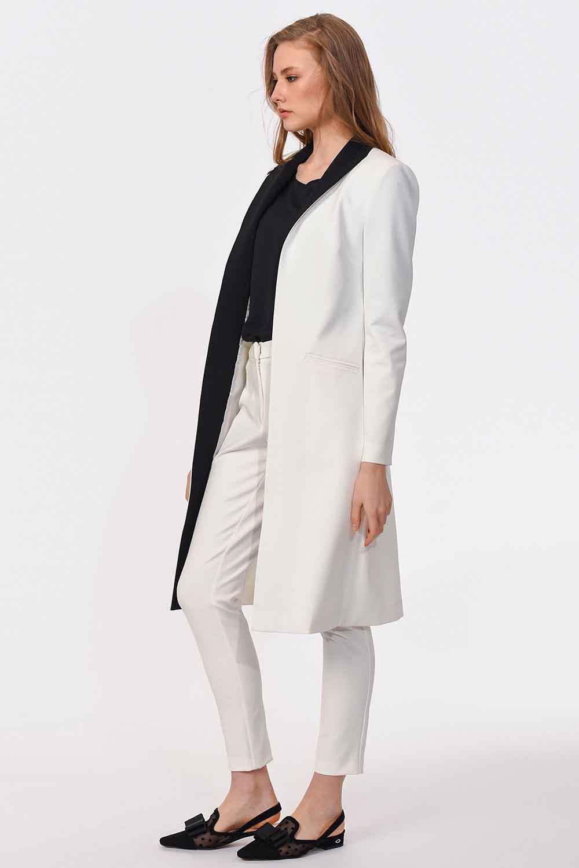 MIZALLE Nakış Detaylı Tasarım Ceket (Beyaz) (1)