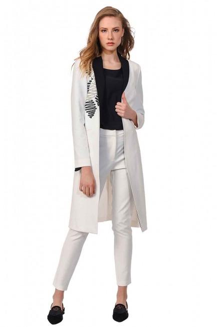 Nakış Detaylı Tasarım Ceket (Beyaz) - Thumbnail