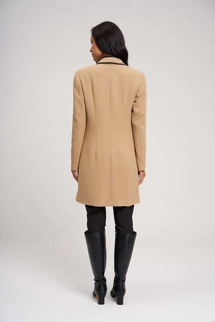 Nakış Detaylı Uzun Ceket (Bej) - Thumbnail