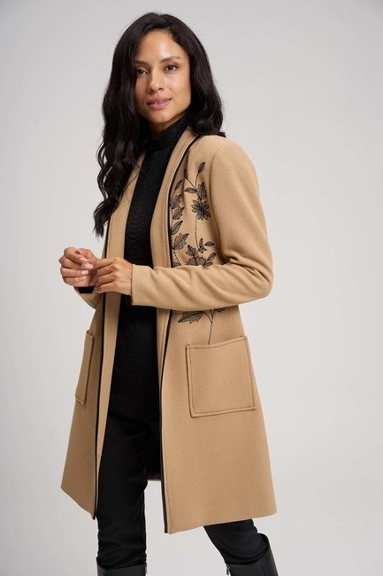 MIZALLE - Embroidery Detail Long Jacket (Beige) (1)
