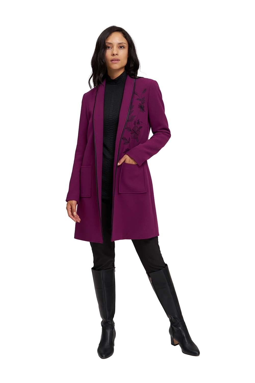 Nakış Detaylı Uzun Ceket (Mor)