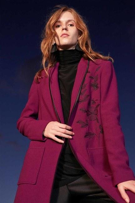Nakış Detaylı Uzun Ceket (Mor) - Thumbnail