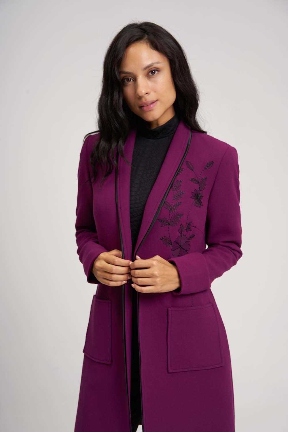 MIZALLE Embroidery Detail Long Jacket (Purple) (1)