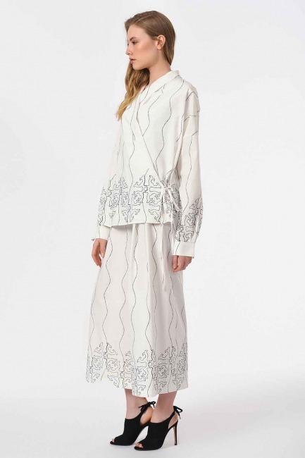 Nakış İşlemeli Tasarım Bluz (Beyaz) - Thumbnail