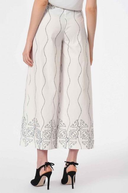 Nakış İşlemeli Tasarım Pantolon (Beyaz) - Thumbnail