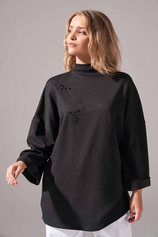 Nakışlı Örme Siyah Tunik
