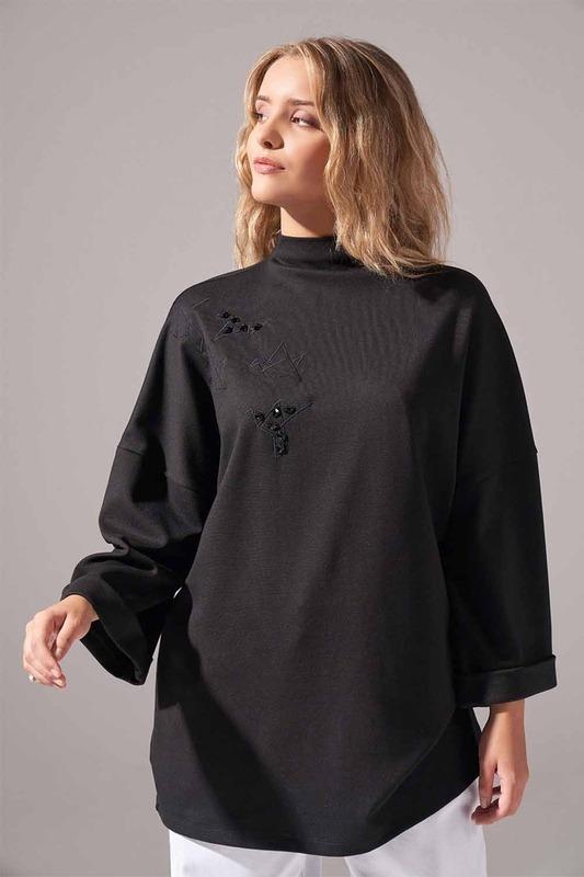 Nakışlı Örme Tunik (Siyah)