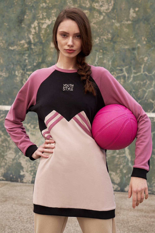 Nakışlı Parçalı Bej Sweatshirt