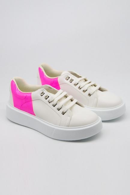 Mizalle - Neon Kalın Taban Sneaker (Pembe)