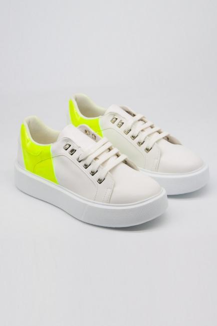 Mizalle - Neon Kalın Taban Sneaker (Sarı)