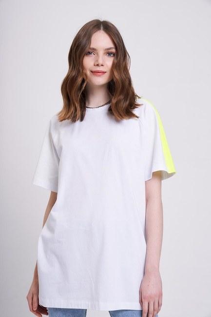 Neon Parçalı T-Shirt (Beyaz) - Thumbnail