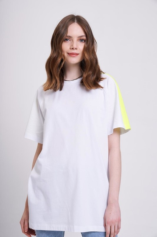 Neon Parçalı T-Shirt (Beyaz)