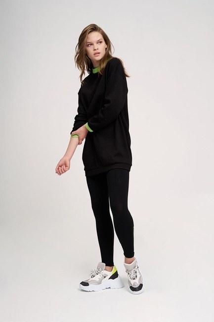 MIZALLE YOUTH - Neon Ribanalı Sweatshirt (Siyah) (1)