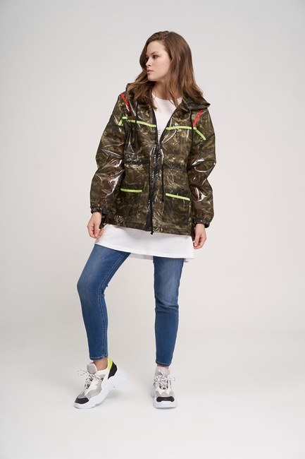 MIZALLE YOUTH - Neon Striped Camouflage Raincoat (1)