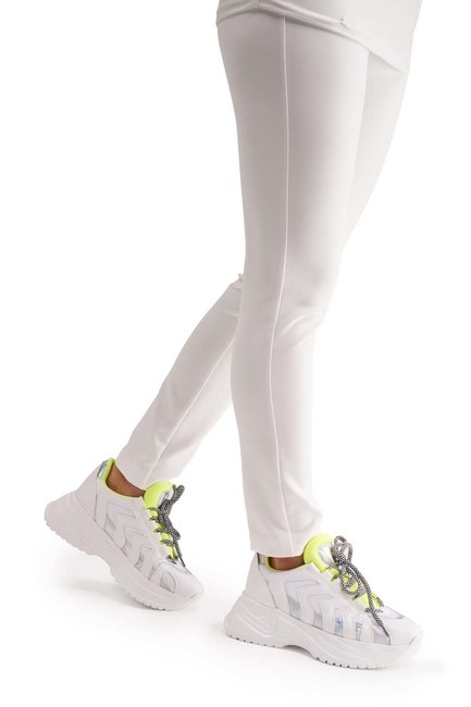 MIZALLE أحذية رياضية مخطط نيون (أبيض)