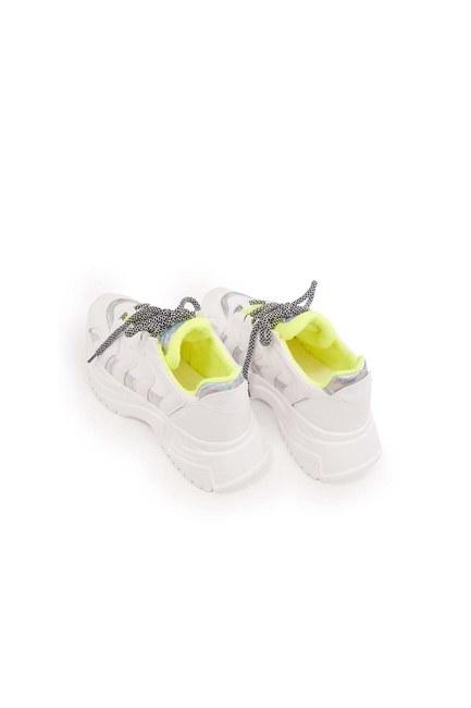 حذاء رياضي بشريط نيون (أبيض) - Thumbnail