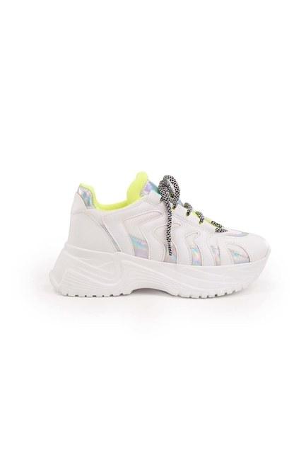 MIZALLE - Neon Şeritli Spor Ayakkabı (Beyaz) (1)