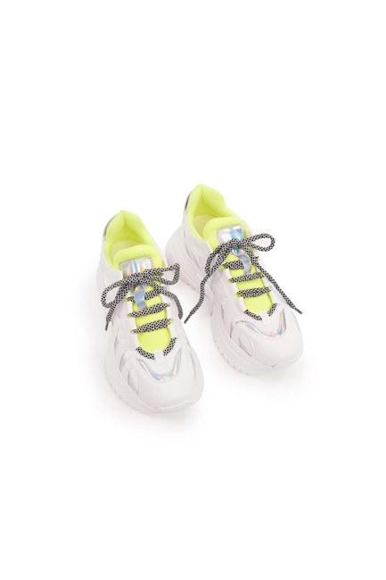 Neon Şeritli Spor Ayakkabı (Beyaz) - Thumbnail