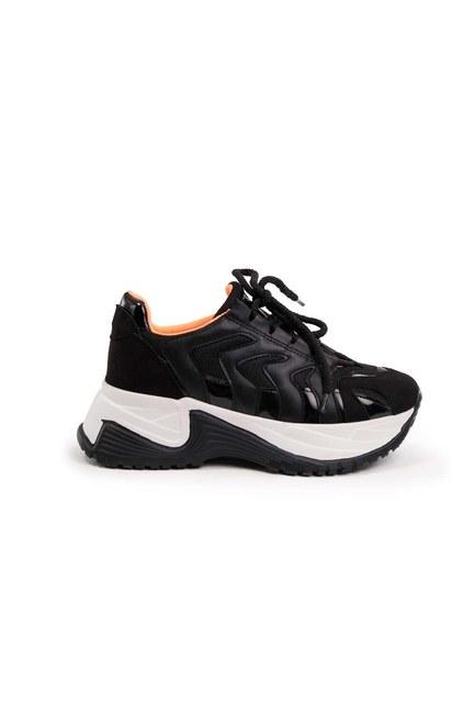 MIZALLE - Neon Şeritli Spor Ayakkabı (Siyah) (1)