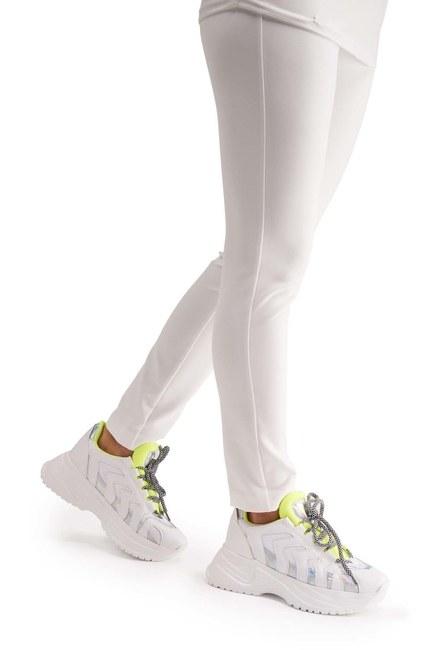 MIZALLE حذاء رياضي بشريط نيون (أبيض)