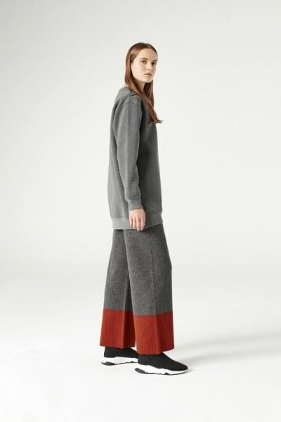 MIZALLE - Net Detailed Sweatshirt (Grey) (1)