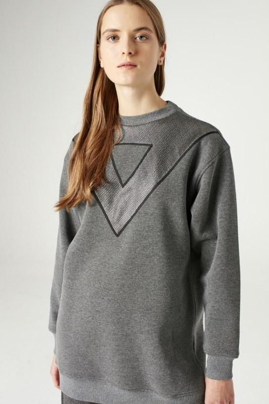 Net Detailed Sweatshirt (Grey)