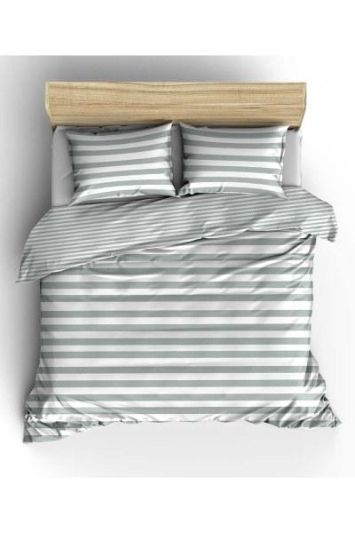 MIZALLE Double Grey Striped Linens Set (200X220)