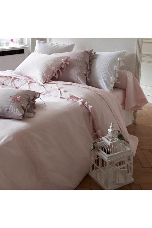 طقم سرير مزدوج ، وردي ، وبياضات (200 × 220)