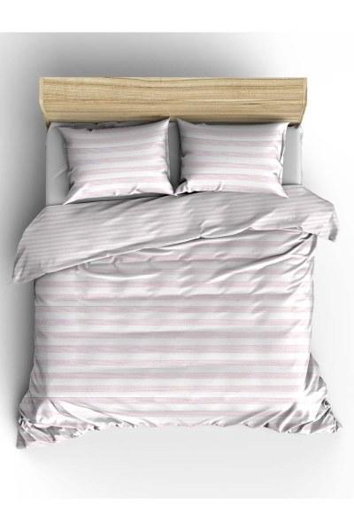 MIZALLE Double Pink Striped Linens Set (240X220)