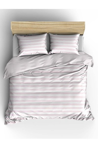 MIZALLE HOME Double Pink Striped Linens Set (240X220)