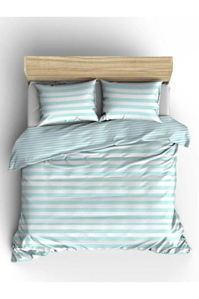 MIZALLE HOME Double Green Striped Linens Set (240X220)