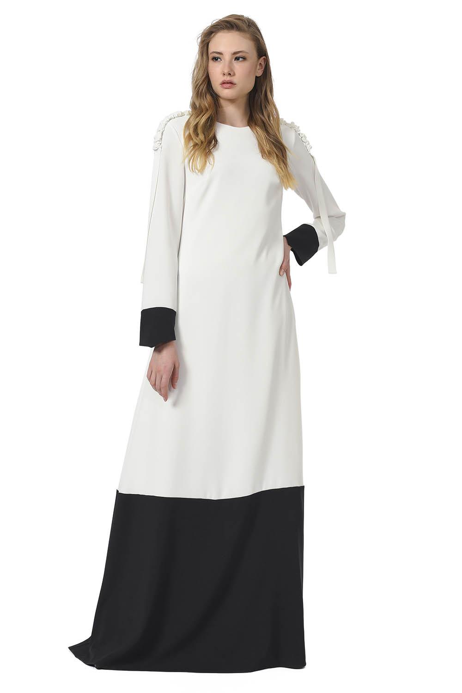 9723d1902 مصمم فستان ماكسي مع الكتف مطوي (أسود / أبيض)