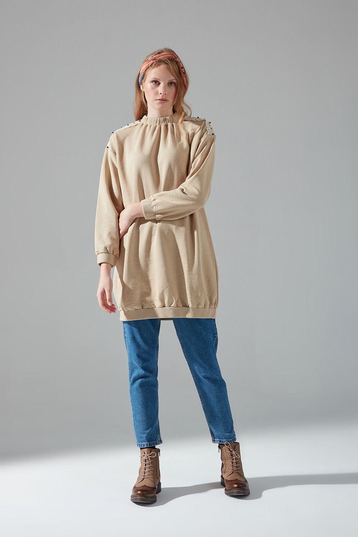 Omuzu Dantelli Sweatshirt (Bej)