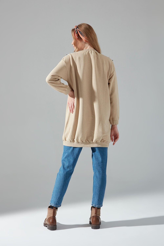 Omuzu Dantelli Sweatshirt (Bej) - Thumbnail