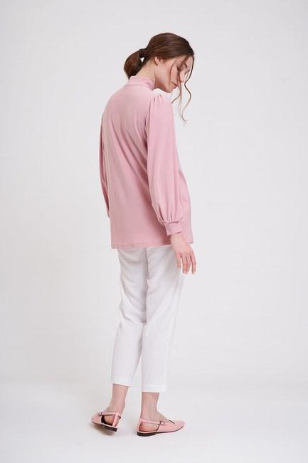 MIZALLE - Omuzu Düğmeli Sandy Bluz (Pudra) (1)