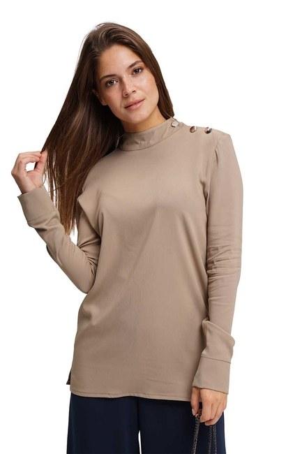 MIZALLE Omuzu Düğmeli Tunik Bluz (Bej)